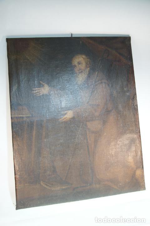 Arte: Oleo sobre lienzo San Francisco de Paula. Siglo XVI-XVII. Gran tamaño. - Foto 9 - 215240338