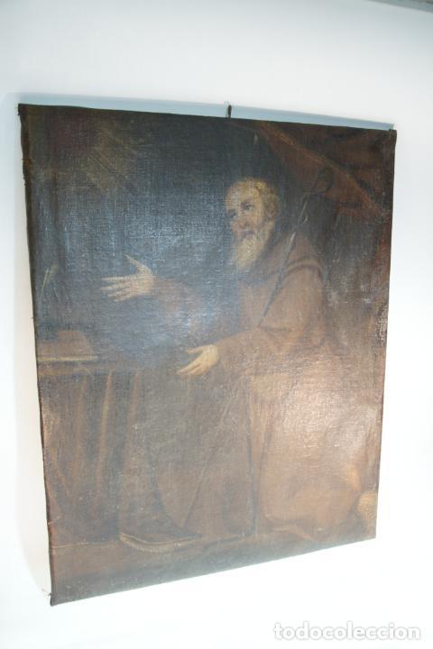 Arte: Oleo sobre lienzo San Francisco de Paula. Siglo XVI-XVII. Gran tamaño. - Foto 10 - 215240338