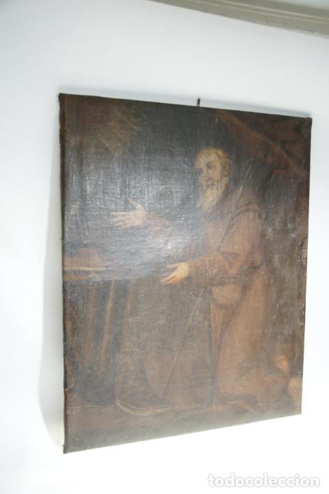 Arte: Oleo sobre lienzo San Francisco de Paula. Siglo XVI-XVII. Gran tamaño. - Foto 11 - 215240338