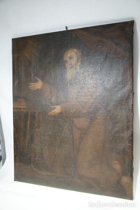 Arte: Oleo sobre lienzo San Francisco de Paula. Siglo XVI-XVII. Gran tamaño. - Foto 12 - 215240338
