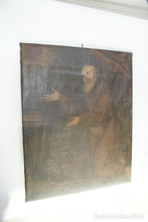 Arte: Oleo sobre lienzo San Francisco de Paula. Siglo XVI-XVII. Gran tamaño. - Foto 13 - 215240338