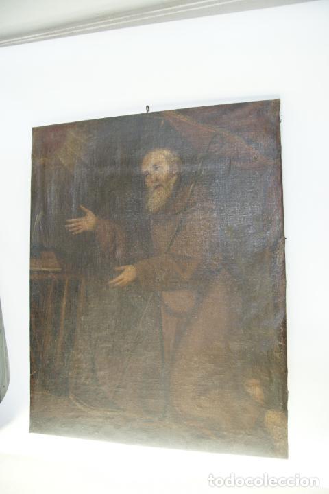 Arte: Oleo sobre lienzo San Francisco de Paula. Siglo XVI-XVII. Gran tamaño. - Foto 14 - 215240338