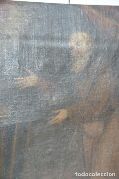 Arte: Oleo sobre lienzo San Francisco de Paula. Siglo XVI-XVII. Gran tamaño. - Foto 15 - 215240338