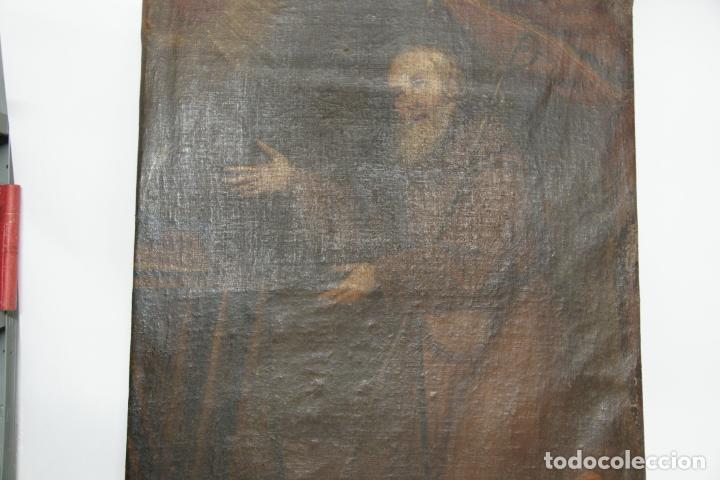 Arte: Oleo sobre lienzo San Francisco de Paula. Siglo XVI-XVII. Gran tamaño. - Foto 17 - 215240338