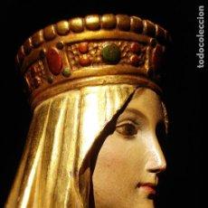 Arte: EXTRAORDINARIA TALLA DE LA VIRGEN ENTRONIZADA DORADA AL ORO FINO SXIX. Lote 212374663