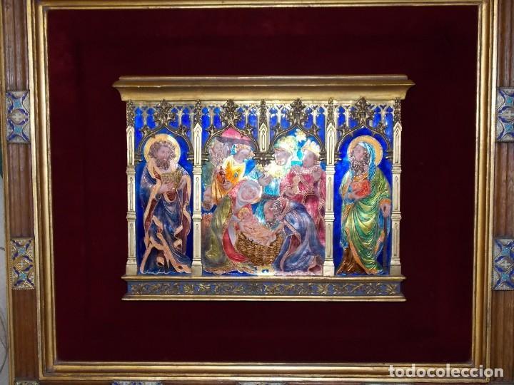CUADRO TRIPTICO RELIGIOSO ESMALTADO MORATO (Arte - Arte Religioso - Pintura Religiosa - Otros)