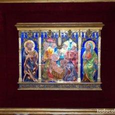 Arte: CUADRO TRIPTICO RELIGIOSO ESMALTADO MORATO. Lote 199689862