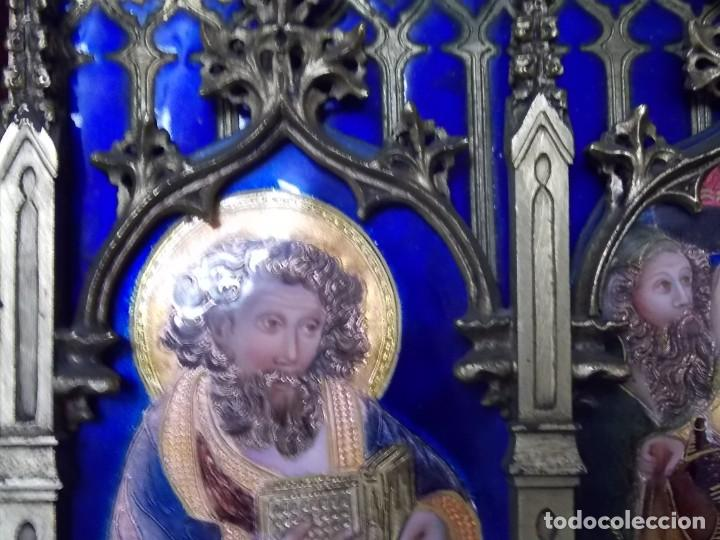Arte: CUADRO TRIPTICO RELIGIOSO ESMALTADO MORATO - Foto 2 - 199689862