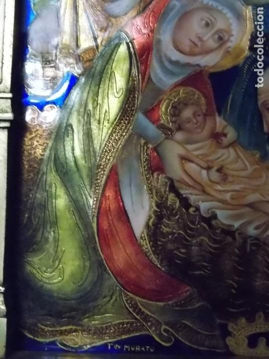 Arte: CUADRO TRIPTICO RELIGIOSO ESMALTADO MORATO - Foto 3 - 199689862