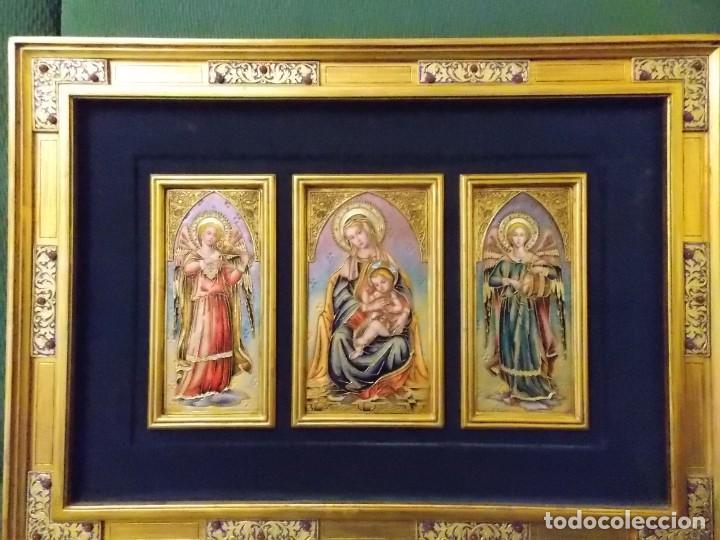 Arte: CUADRO TRIPTICO RELIGIOSO ESMALTADO MORATO - Foto 7 - 215449670