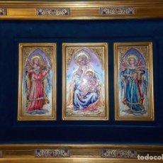 Arte: CUADRO TRIPTICO RELIGIOSO ESMALTADO MORATO. Lote 215449670