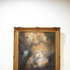 Arte: ÓLEO SOBRE LIENZO SIGLO XVIII SAN ANTONIO CON NIÑO - ESCULA DE MURILLO. Lote 215452592