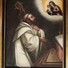 Arte: LACTANCIA DE SAN BERNARDO. ÓLEO SOBRE LIENZO. ESCUELA ESPAÑOLA DEL S. XVII. MED: 76 X 63 CM.. Lote 215681345