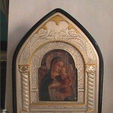 Arte: EXCELENTE ICONO BIZANTINO. VIRGEN CON NIÑO. PLATA 625. FIRMADO ROMAGNOLI.. Lote 215817147