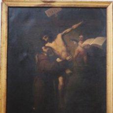 Arte: SAN FRANCISCO ABRAZANDO A CRISTO EN LA CRUZ. ÓLEO/LIENZO. ESC. ESPAÑOLA. PPS. XIX. MED: 101 X 79 CM.. Lote 215844261