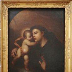 Arte: SAN ANTONIO CON EL NIÑO JESÚS. ÓLEO/LIENZO. CÍRCULO DE ANDREA VACCARO (NÁPOLES 1604-1670). Lote 215844977