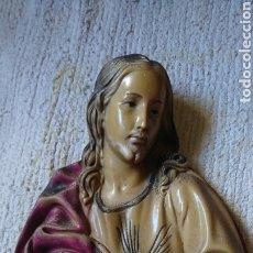 Arte: ANTIGUO BUSTO, FIGURA CORAZÓN DE JESÚS, VER. Lote 215896865