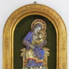 Arte: ESMALTE RELIGIOSO DE MORATÓ VIRGEN DE LA LECHE CON MARCO DE MADERA - C.1940. Lote 215899767