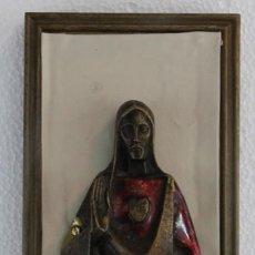 Arte: ICONO RELIGIOSO SAGRADO CORAZÓN EN BRONCE ESMALTADO AL FUEGO - AÑOS 40. Lote 215935812