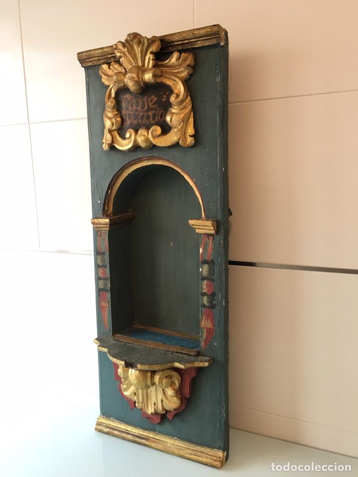 Arte: ANTIGUA HORNACINA DE MADERA PARA TALLA DE SANTO ANTIGUO O VIRGEN ANTIGUA - SIGLO XVIII - Foto 5 - 215980822