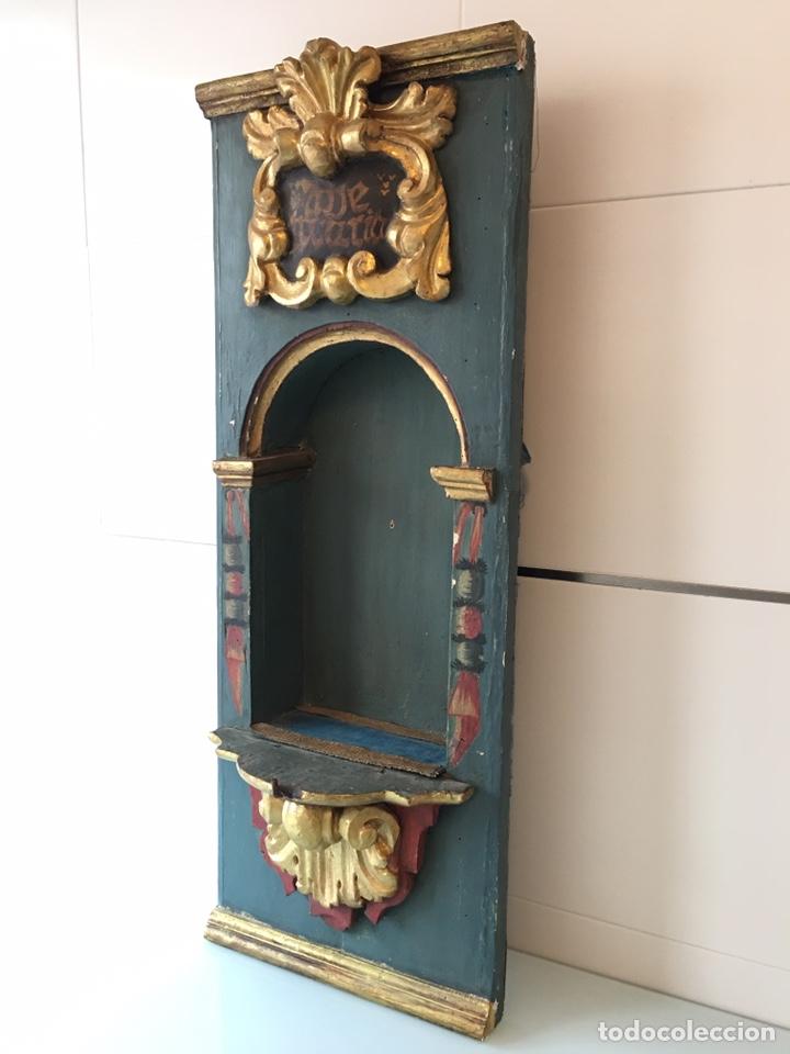ANTIGUA HORNACINA DE MADERA PARA TALLA DE SANTO ANTIGUO O VIRGEN ANTIGUA - SIGLO XVIII (Arte - Arte Religioso - Retablos)