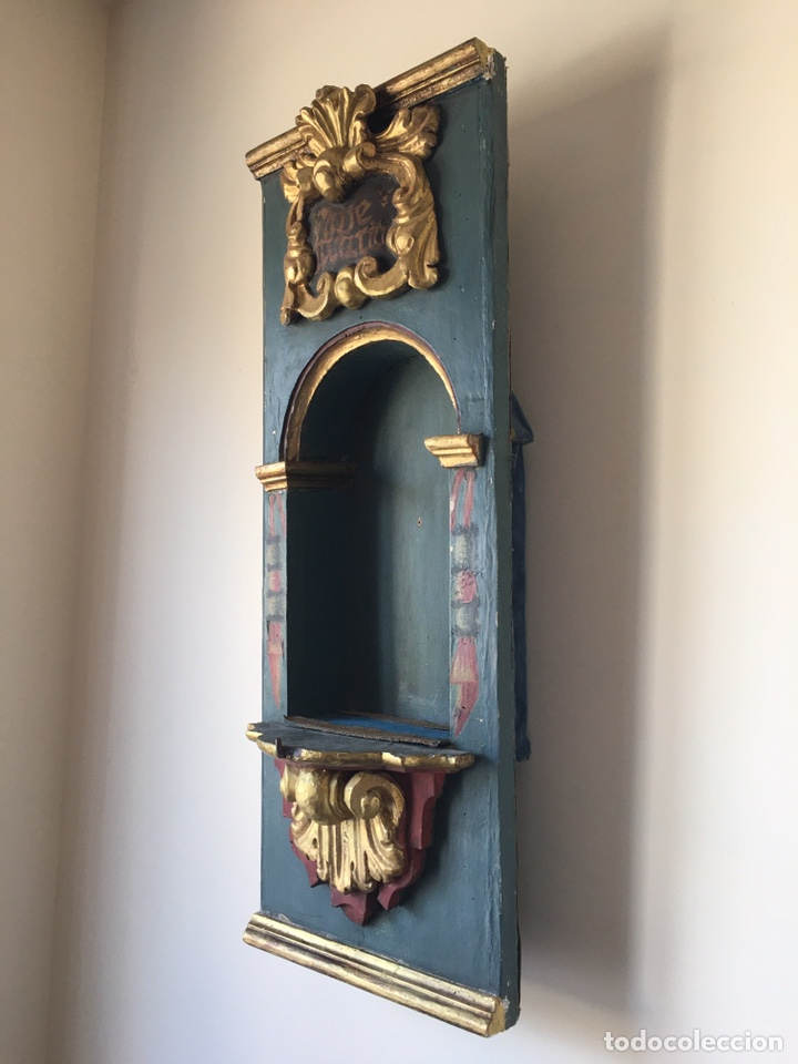 Arte: ANTIGUA HORNACINA DE MADERA PARA TALLA DE SANTO ANTIGUO O VIRGEN ANTIGUA - SIGLO XVIII - Foto 14 - 215980822