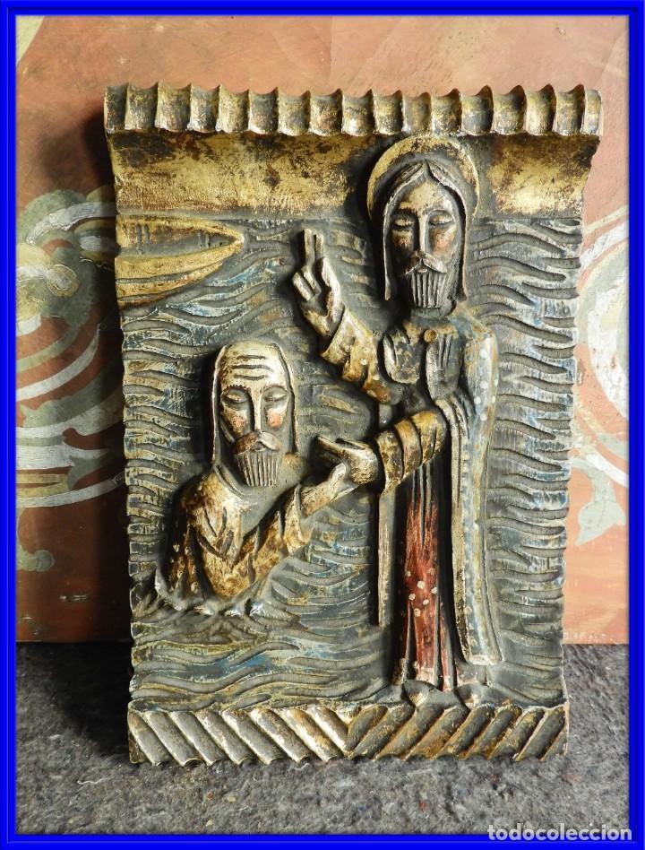 TABLA RELIGIOSA DE ESCAYOLA IMITANDO MADERA (Arte - Arte Religioso - Escultura)