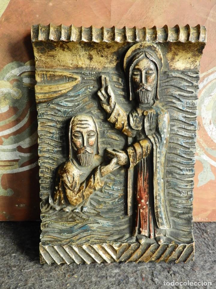 Arte: TABLA RELIGIOSA DE ESCAYOLA IMITANDO MADERA - Foto 6 - 216479956