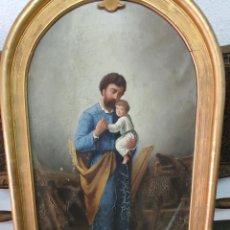 Art: OLEO ENMARCADO SAN JOSÉ Y NIÑO JESÚS, EN CARPINTERÍA FIRMADO GAMARRA. SIGLO XIX. Lote 216615320