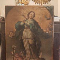 Arte: INMACULADA CONCEPCIÓN ÓLEO SOBRE LIENZO REENTELADO SIGLO XVII-XVIII. Lote 216695985