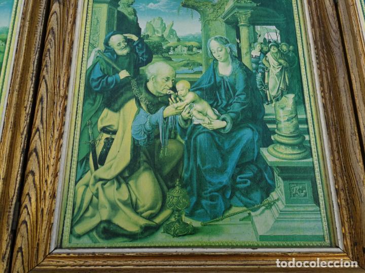 Arte: RETABLO ANTIGUO TRÍPTICO RELIGIOSO ADORACIÓN DE LOS REYES MAGOS 39 CM ALTURA 75 LARGO - Foto 2 - 216696546