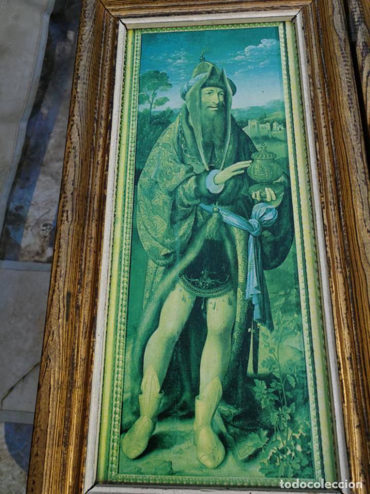 Arte: RETABLO ANTIGUO TRÍPTICO RELIGIOSO ADORACIÓN DE LOS REYES MAGOS 39 CM ALTURA 75 LARGO - Foto 4 - 216696546