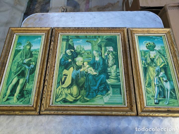 RETABLO ANTIGUO TRÍPTICO RELIGIOSO ADORACIÓN DE LOS REYES MAGOS 39 CM ALTURA 75 LARGO (Arte - Arte Religioso - Trípticos)