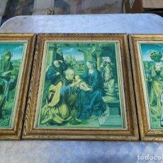 Arte: RETABLO ANTIGUO TRÍPTICO RELIGIOSO ADORACIÓN DE LOS REYES MAGOS 39 CM ALTURA 75 LARGO. Lote 216696546