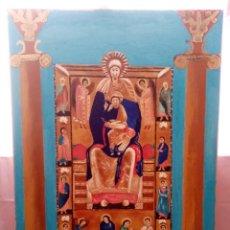 Arte: PINTURA RELIGIOSA CON COLORES ENCENDIDOS DE GRANDES DIMENSIONES. ÓLEO SOBRE CARTÓN. 105CM X 75CM.. Lote 216791503