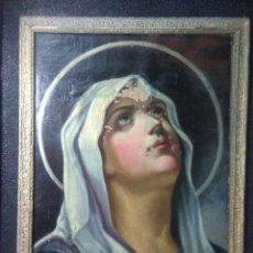 Arte: ANTIGUO OLEO ,PINTURA RELIGIOSA SIGLO XIX,VIRGEN DOLOROSA 78CM ALTOX62CM ANCHO,MARCO DE EPOCA XIX. Lote 216836771