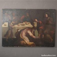 Art: GRAN OLEO SOBRE LIENZO Mº MAGDALENA LAVANDO LOS PIES DE JESUS PINTURA MANIERISTA FINALES S XVII. Lote 217035476