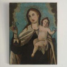 Art: PINTURA COLONIAL OLEO SOBRE LIENZO VIRGEN Y NIÑO JESUS ESCUELA CUZQUEÑA PERU S XVII. Lote 217036506