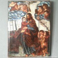 Art: OLEO SOBRE LIENZO IMAGEN SANTISIMA TRINIDAD CON ANGELES ARTE POPULAR S XVIII. Lote 217038892