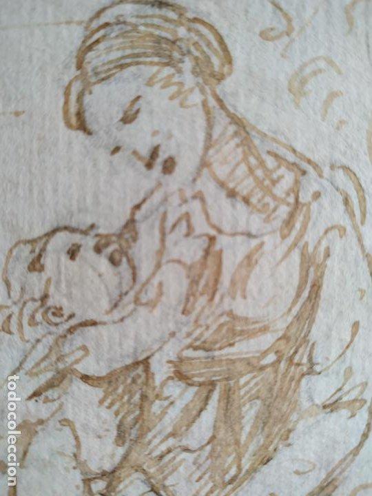 Arte: Dibujo a tinta Virgen con niño y conejo Siglo XVIII - Foto 2 - 217192551