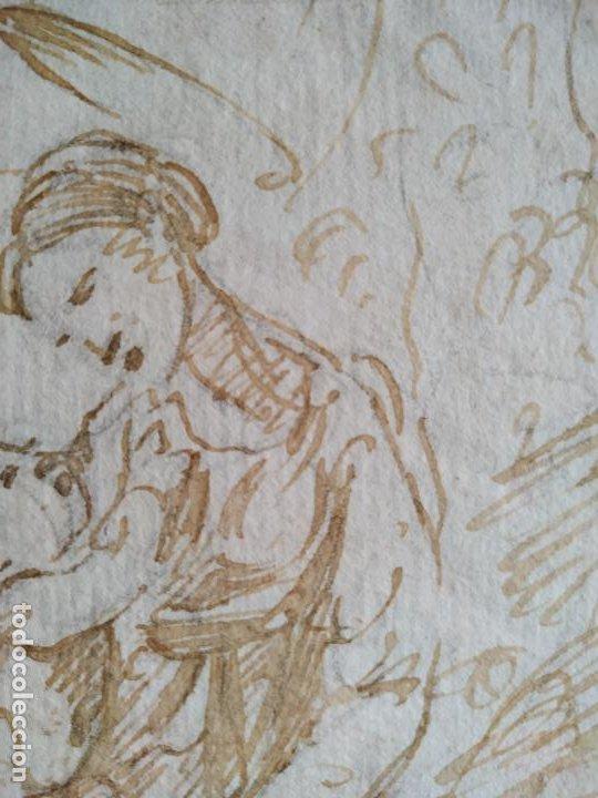 Arte: Dibujo a tinta Virgen con niño y conejo Siglo XVIII - Foto 3 - 217192551