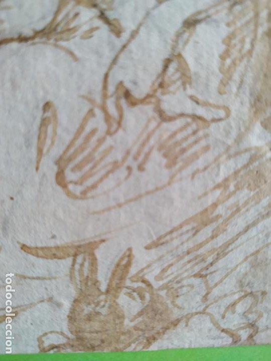 Arte: Dibujo a tinta Virgen con niño y conejo Siglo XVIII - Foto 4 - 217192551
