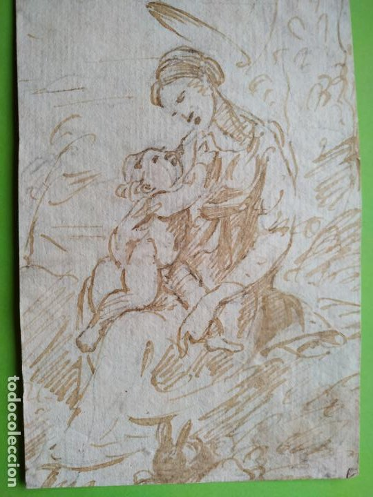 DIBUJO A TINTA VIRGEN CON NIÑO Y CONEJO SIGLO XVIII (Arte - Arte Religioso - Pintura Religiosa - Otros)