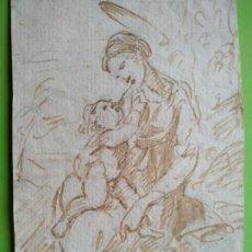 Arte: DIBUJO A TINTA VIRGEN CON NIÑO Y CONEJO SIGLO XVIII. Lote 217192551