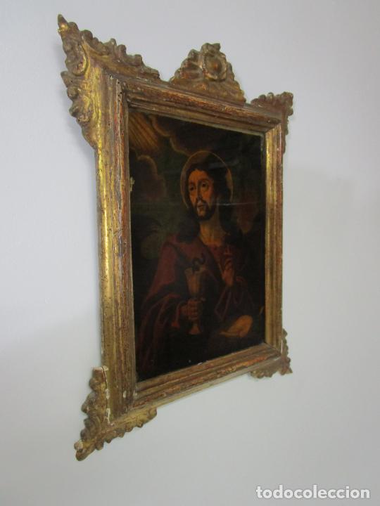 Arte: Pintura al Óleo sobre Cristal - San Juan Evangelista - Escuela Española - Marco de Época - S. XVIII - Foto 2 - 217198226