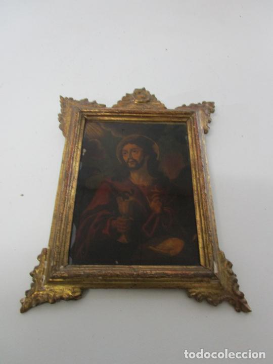 Arte: Pintura al Óleo sobre Cristal - San Juan Evangelista - Escuela Española - Marco de Época - S. XVIII - Foto 3 - 217198226