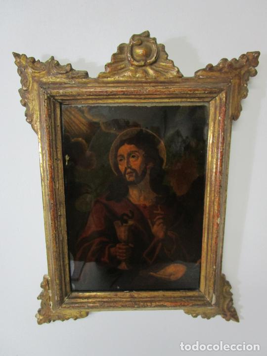 Arte: Pintura al Óleo sobre Cristal - San Juan Evangelista - Escuela Española - Marco de Época - S. XVIII - Foto 4 - 217198226