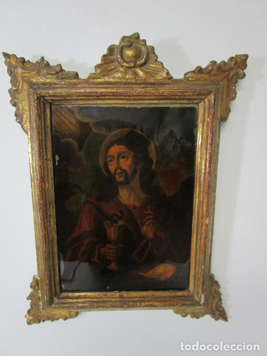 Arte: Pintura al Óleo sobre Cristal - San Juan Evangelista - Escuela Española - Marco de Época - S. XVIII - Foto 7 - 217198226