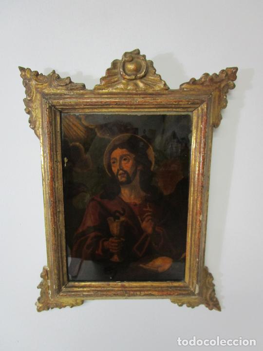 Arte: Pintura al Óleo sobre Cristal - San Juan Evangelista - Escuela Española - Marco de Época - S. XVIII - Foto 9 - 217198226