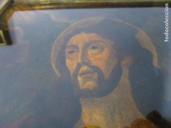 Arte: Pintura al Óleo sobre Cristal - San Juan Evangelista - Escuela Española - Marco de Época - S. XVIII - Foto 10 - 217198226